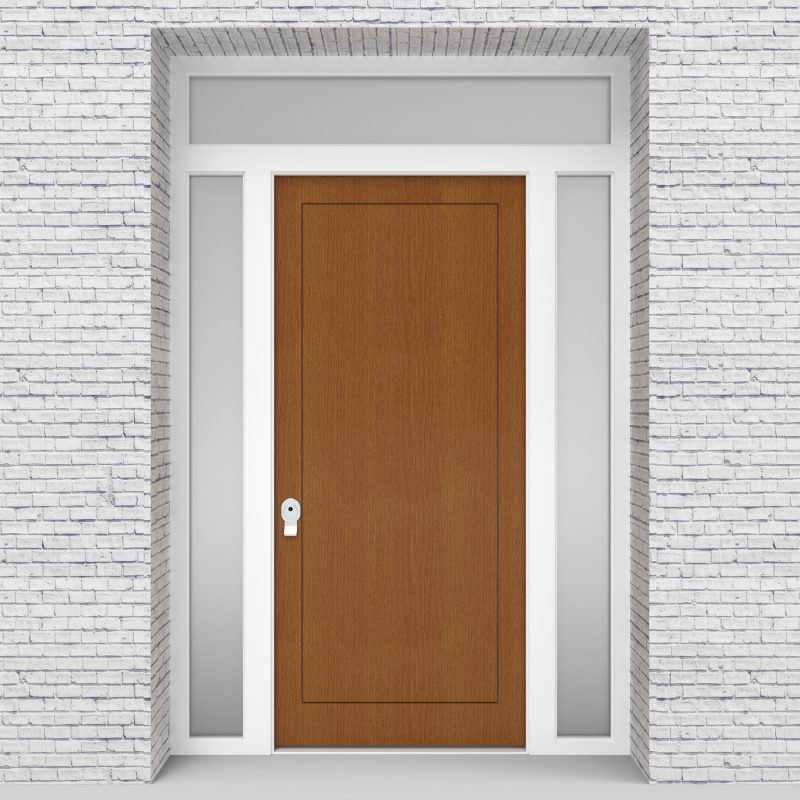 4.single Door With Two Side Panels And Transom One Panel Oak