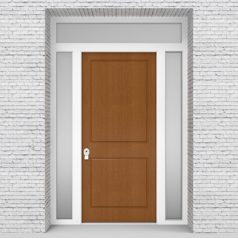 4.single Door With Two Side Panels And Transom Two Panel Oak