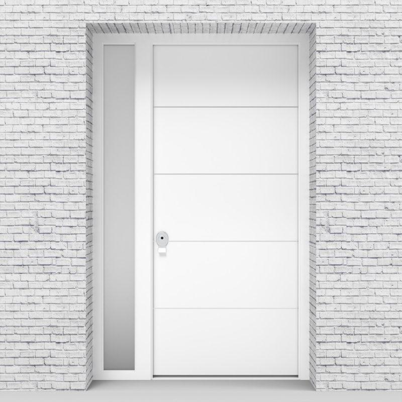 5.single Door With Left Side Panel 4 Aluminium Inlays Traffic White (ral9016)