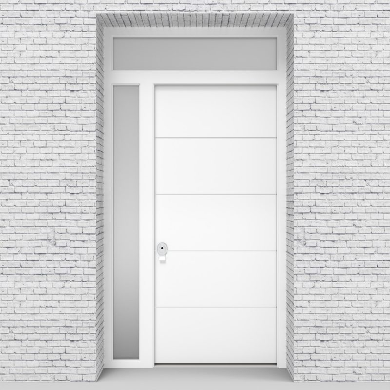 5.single Door With Left Side Panel And Transom 4 Aluminium Inlays Traffic White (ral9016)