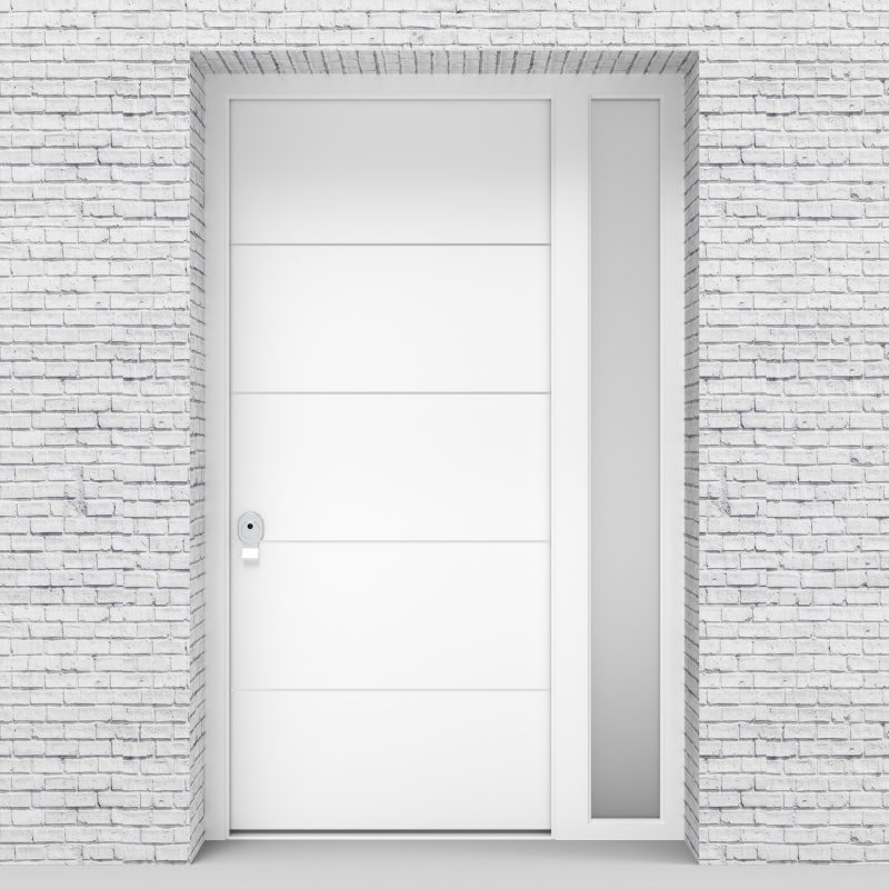 5.single Door With Right Side Panel 4 Aluminium Inlays Traffic White (ral9016)