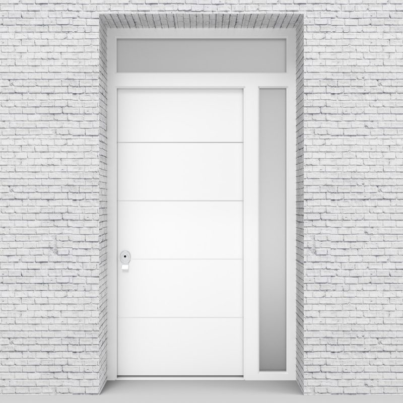 5.single Door With Right Side Panel And Transom 4 Aluminium Inlays Traffic White (ral9016)