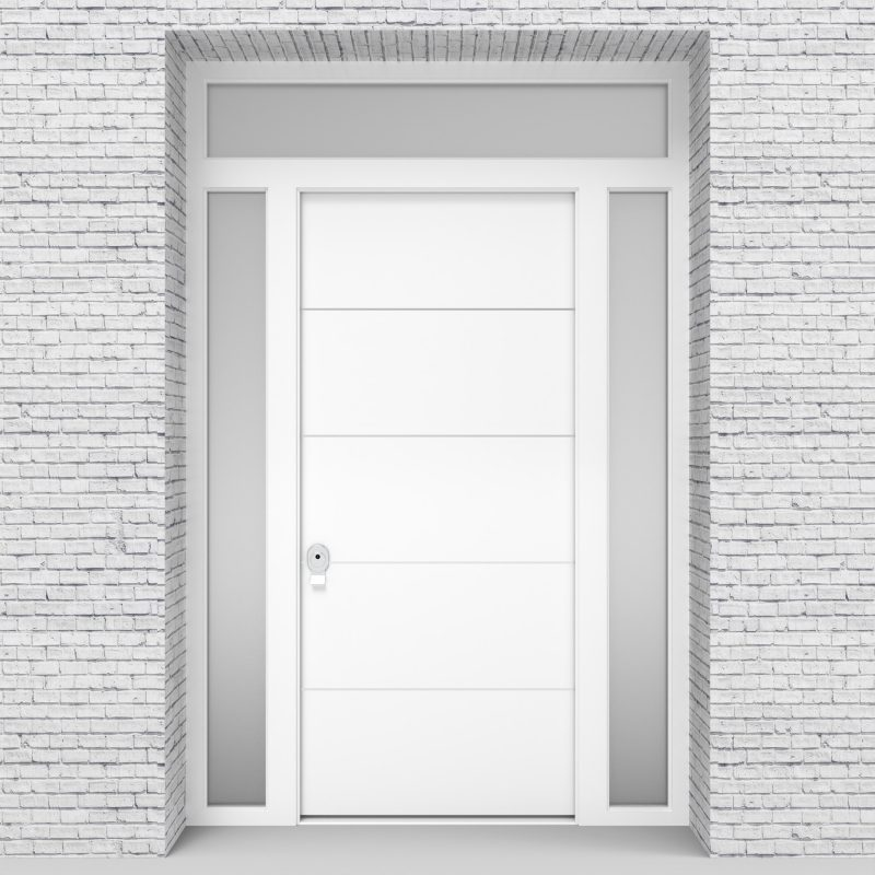 5.single Door With Two Side Panels And Transom 4 Aluminium Inlays Traffic White (ral9016)