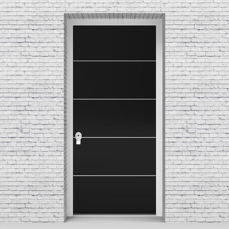 6.single Door 4 Aluminium Inlays Jet Black (ral9005)