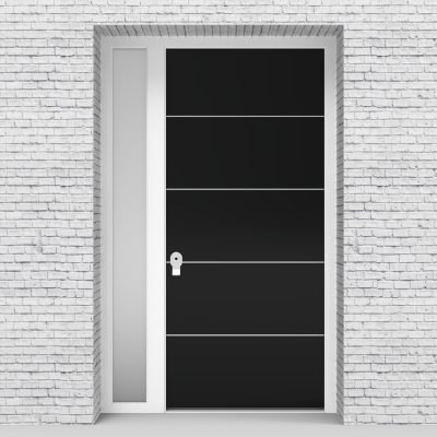 6.single Door With Left Side Panel 4 Aluminium Inlays Jet Black (ral9005)
