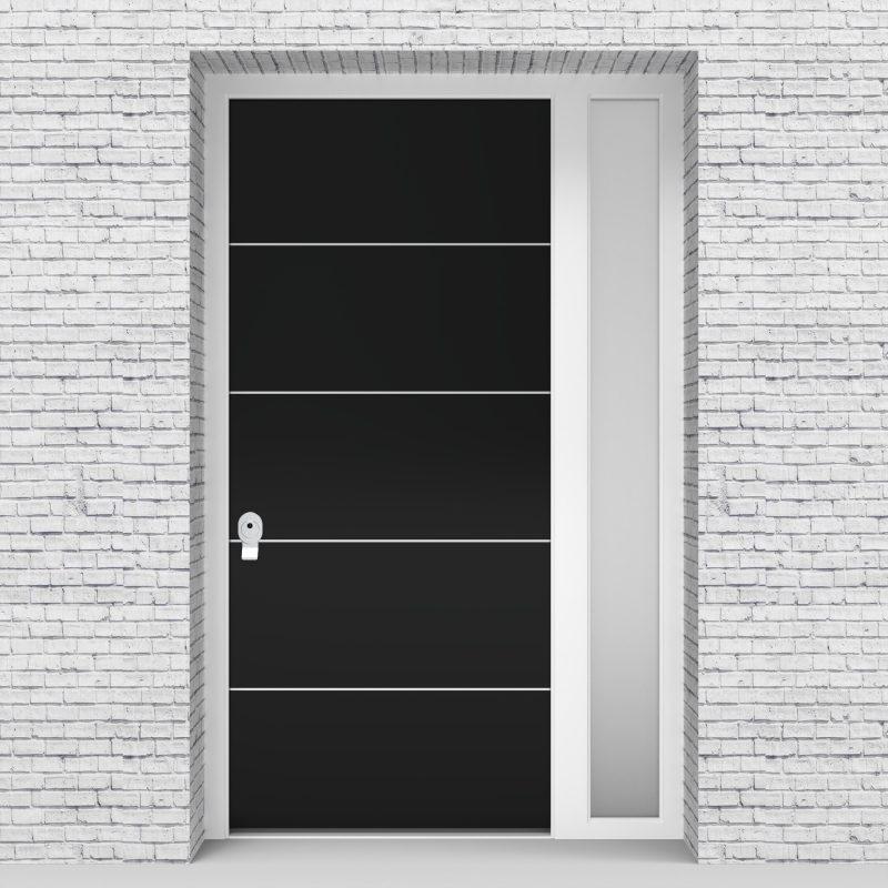 6.single Door With Right Side Panel 4 Aluminium Inlays Jet Black (ral9005)