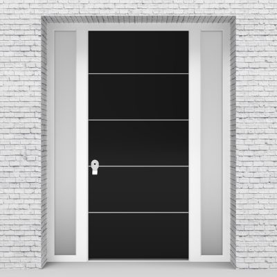 6.single Door With Two Side Panels 4 Aluminium Inlays Jet Black (ral9005)