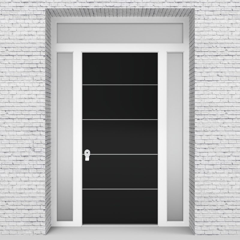 6.single Door With Two Side Panels And Transom 4 Aluminium Inlays Jet Black (ral9005)
