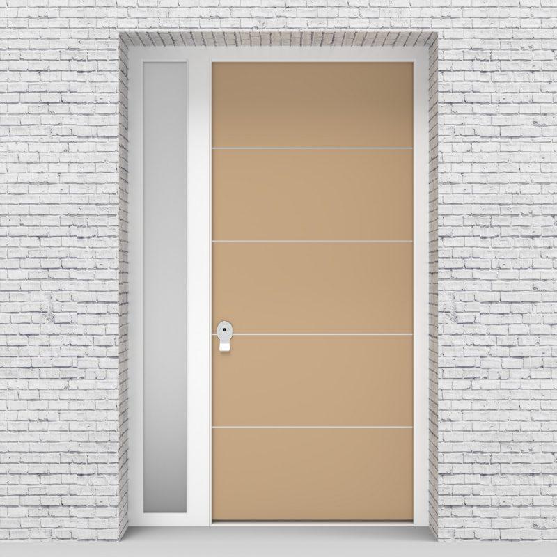 7.single Door With Left Side Panel 4 Aluminium Inlays Light Ivory (ral1015)
