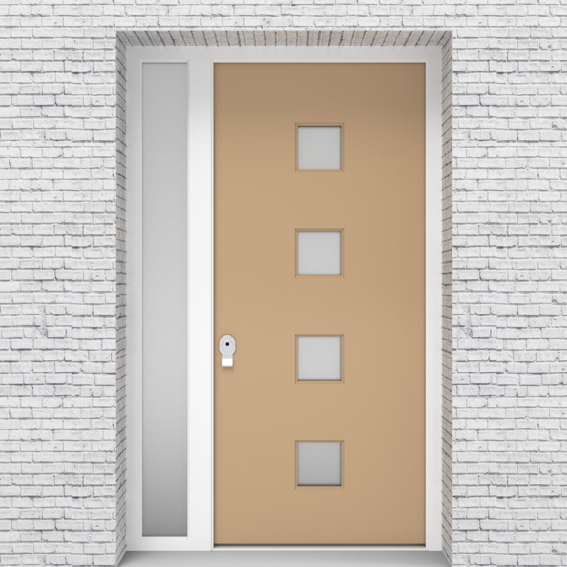 7.single Door With Left Side Panel Plain With 4 Glass Squares Light Ivory (ral1015)