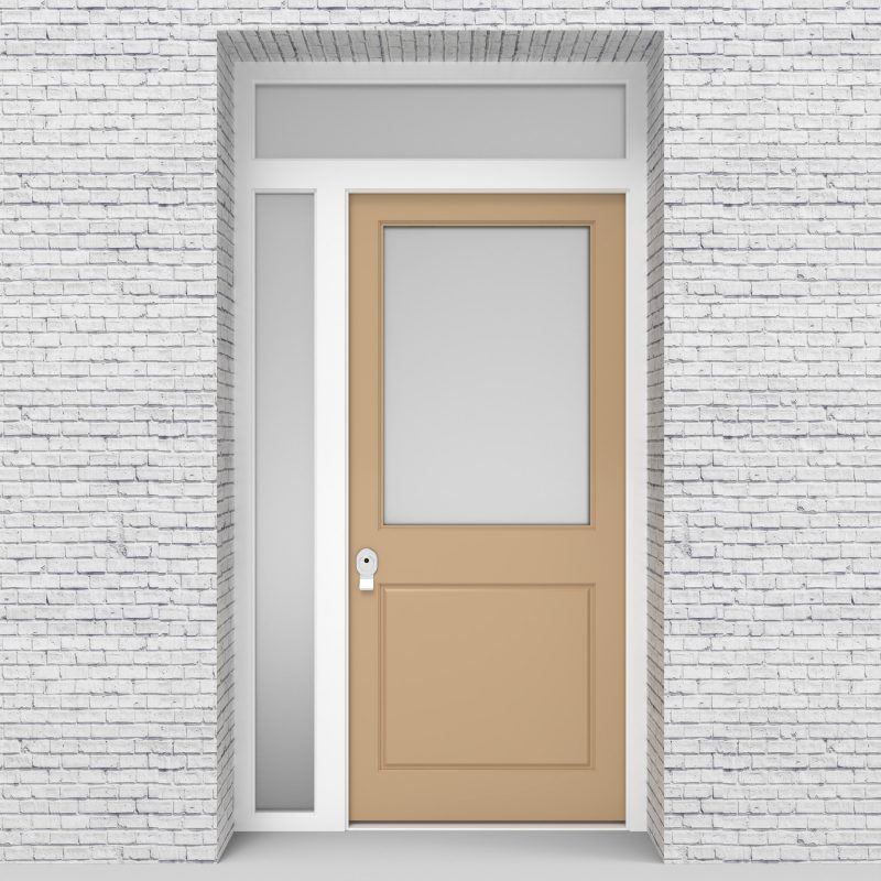 7.single Door With Left Side Panel And Transom 2 Panel With A Large Glass Light Ivory (ral1015)