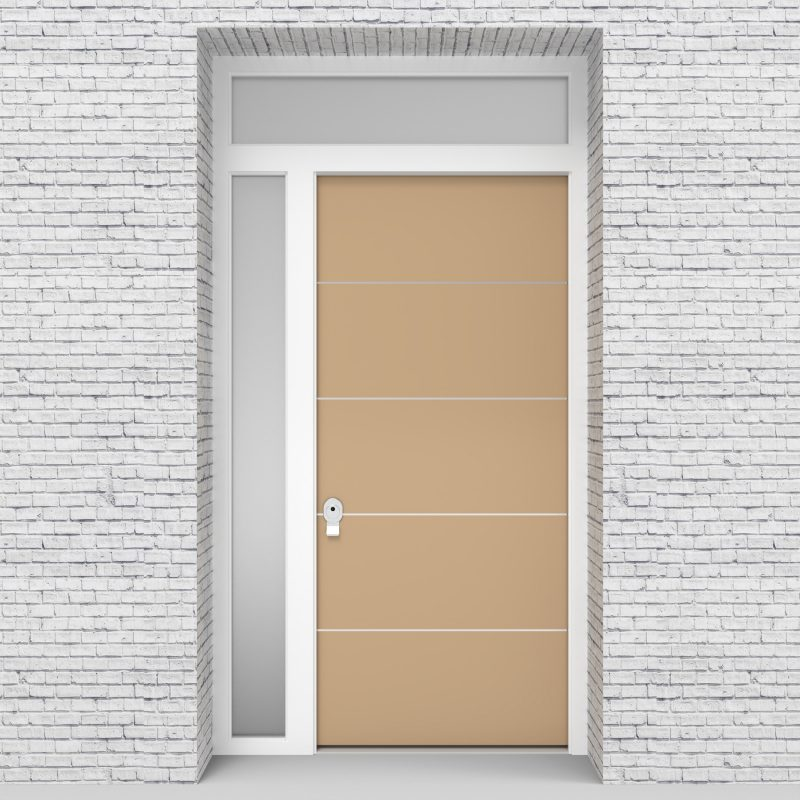 7.single Door With Left Side Panel And Transom 4 Aluminium Inlays Light Ivory (ral1015)