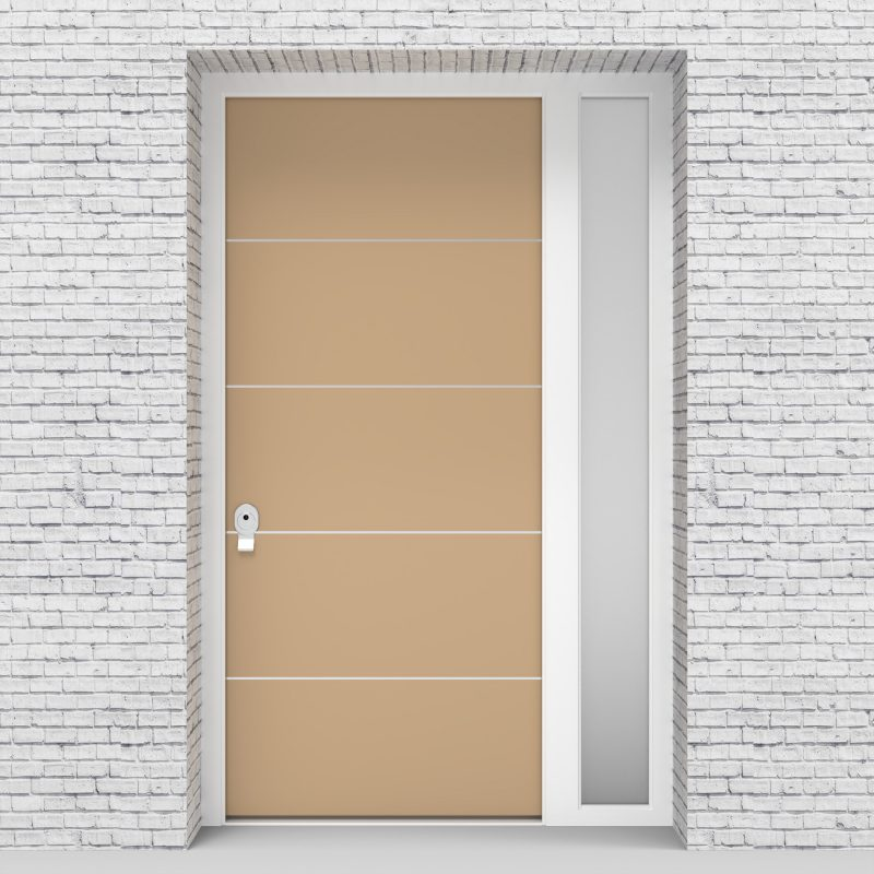 7.single Door With Right Side Panel 4 Aluminium Inlays Light Ivory (ral1015)