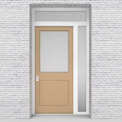 7.single Door With Right Side Panel And Transom 2 Panel With A Large Light Ivory (ral1015)