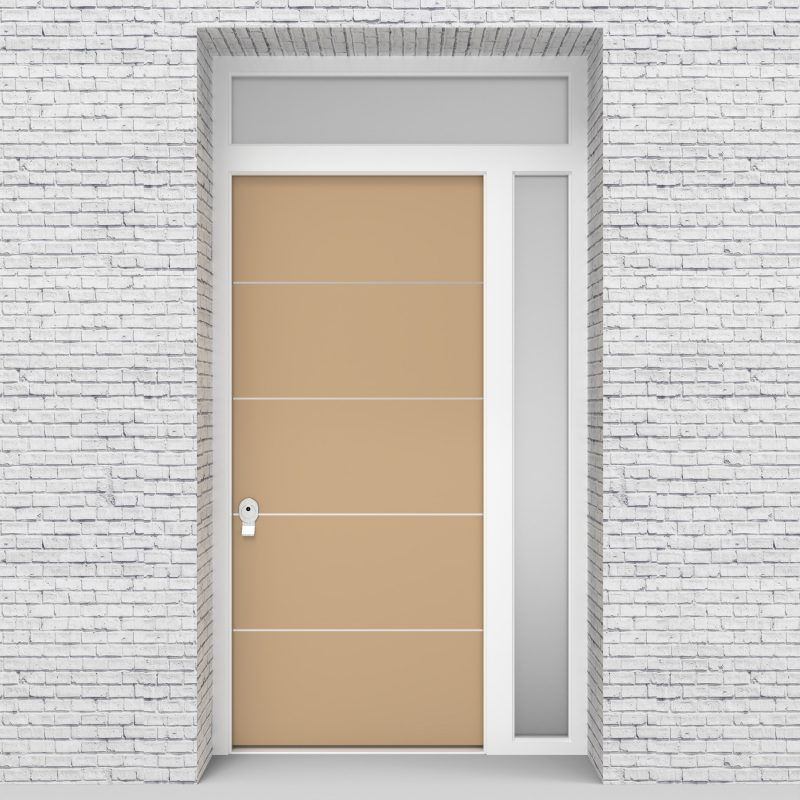 7.single Door With Right Side Panel And Transom 4 Aluminium Inlays Light Ivory (ral1015)