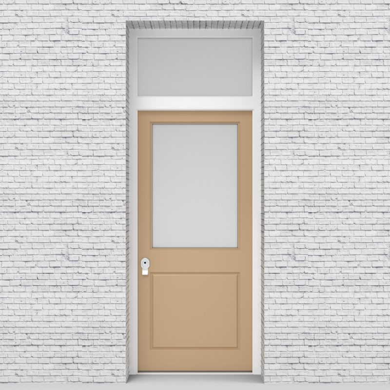 7.single Door With Transom 2 Panel With A Large Glass Pane Light Ivory (ral1015)