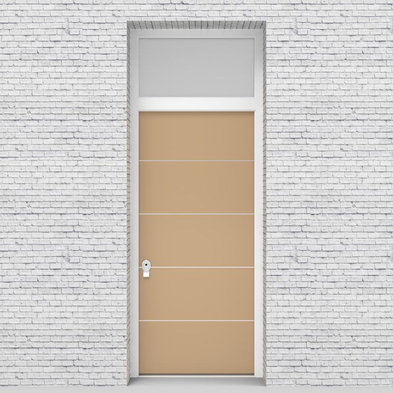 7.single Door With Transom 4 Aluminium Inlays Light Ivory (ral1015)