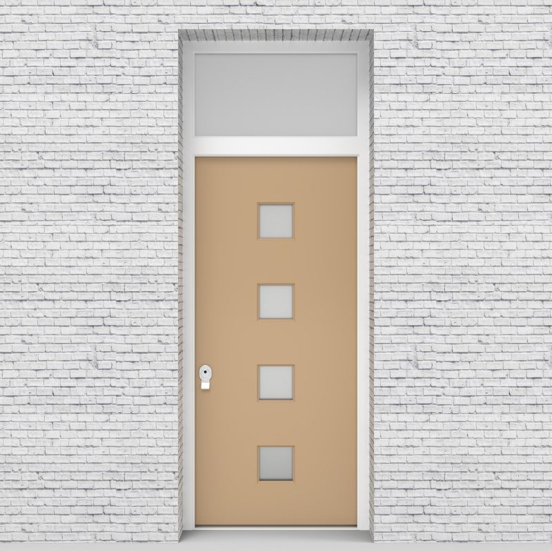 7.single Door With Transom Plain With 4 Glass Squares Light Ivory (ral1015)