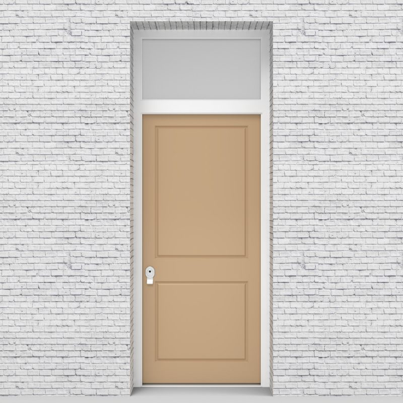 7.single Door With Transom Two Panel Light Ivory (ral1015)