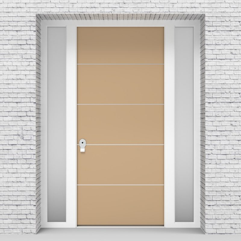 7.single Door With Two Side Panels 4 Aluminium Inlays Light Ivory (ral1015)