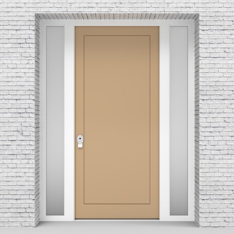 7.single Door With Two Side Panels One Panel Light Ivory (ral1015)
