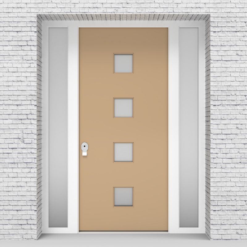 7.single Door With Two Side Panels Plain With 4 Glass Squares Light Ivory (ral1015)