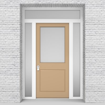 7.single Door With Two Side Panels And Transom 2 Panel With A Large Light Ivory (ral1015)