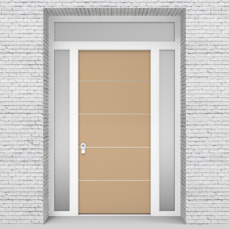 7.single Door With Two Side Panels And Transom 4 Aluminium Inlays Light Ivory (ral1015)