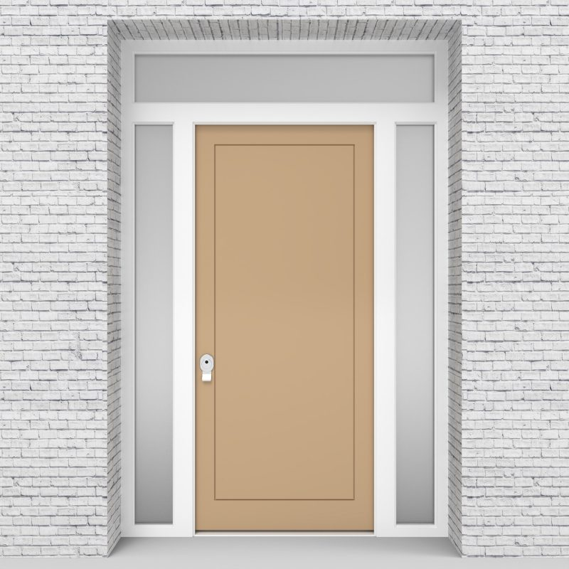 7.single Door With Two Side Panels And Transom One Panel Light Ivory (ral1015)