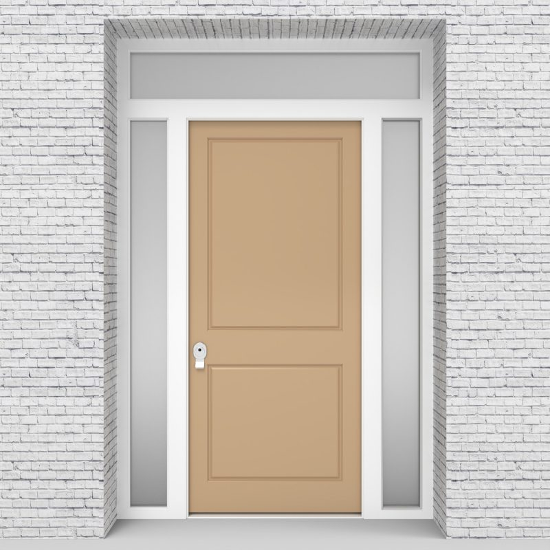 7.single Door With Two Side Panels And Transom Two Panel Light Ivory (ral1015)