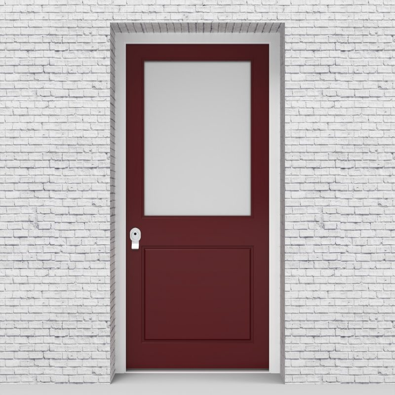 8.single Door 2 Panel With A Large Glass Pane Ruby Red (ral3003)