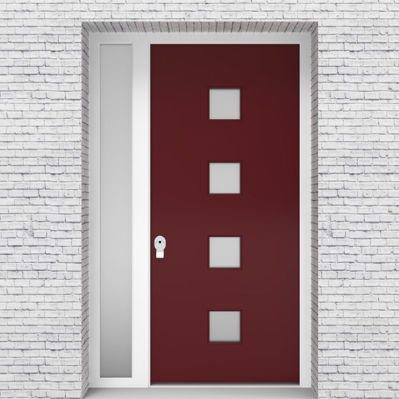 8.single Door With Left Side Panel Plain With 4 Glass Squares Ruby Red (ral3003)