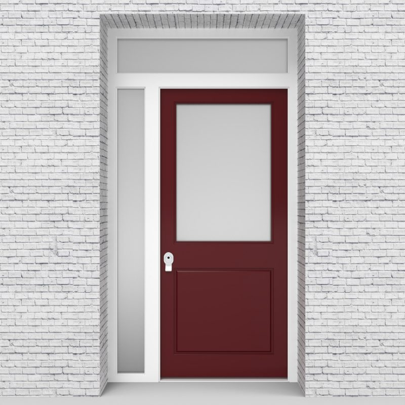 8.single Door With Left Side Panel And Transom 2 Panel With A Large Glass Ruby Red (ral3003)