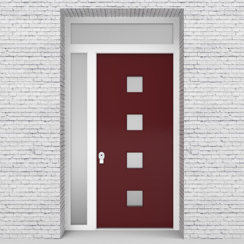 8.single Door With Left Side Panel And Transom Plain With 4 Glass Squares Ruby Red (ral3003)