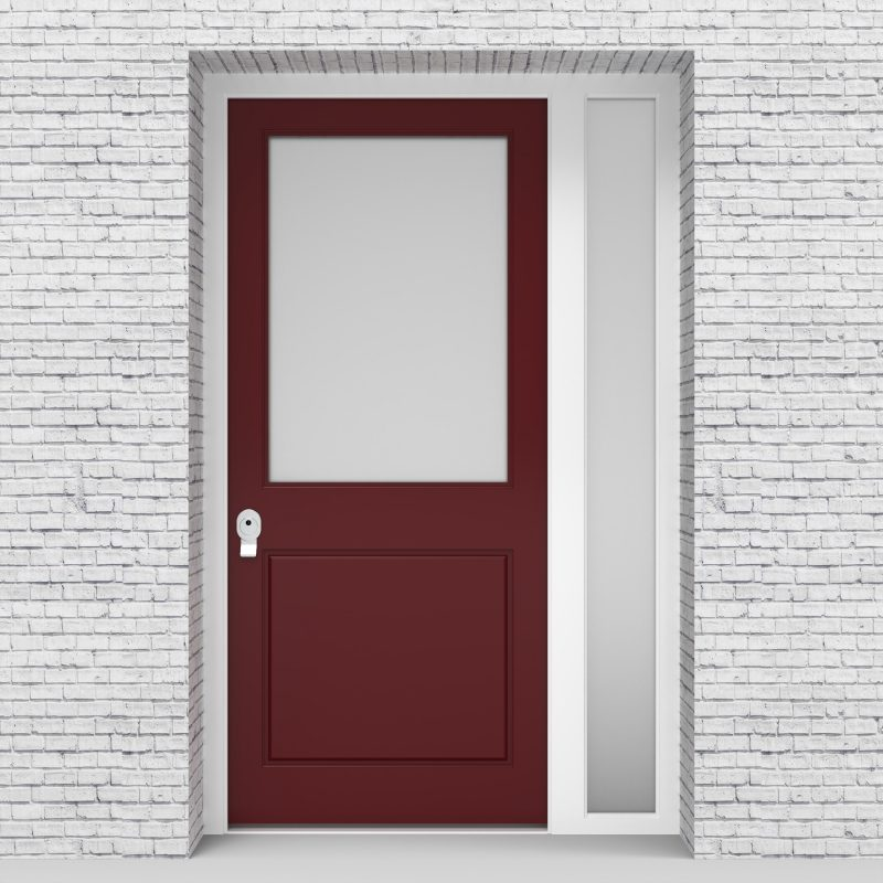 8.single Door With Right Side Panel 2 Panel With A Large Glass Pane Ruby Red (ral3003)