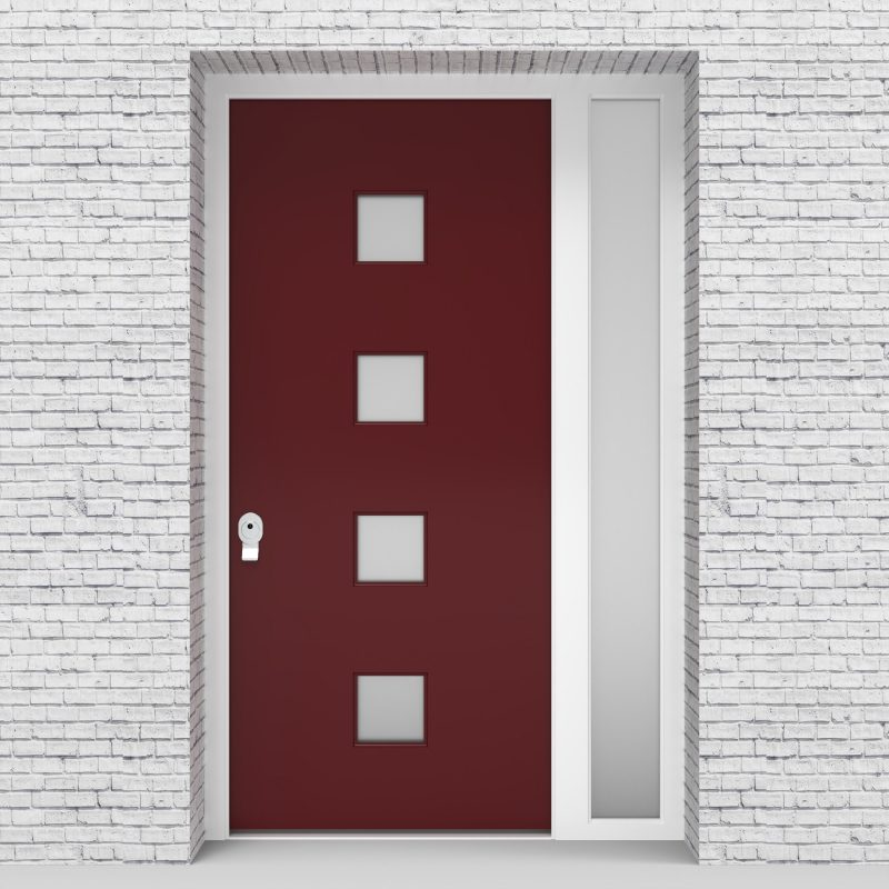 8.single Door With Right Side Panel Plain With 4 Glass Squares Ruby Red (ral3003)
