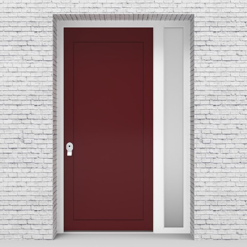8.single Door With Right Side Panel Plain With Lock Side Glass Ruby Red (ral3003)