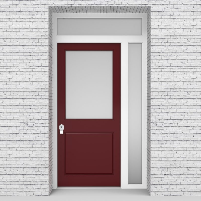 8.single Door With Right Side Panel And Transom 2 Panel With A Large Ruby Red (ral3003)