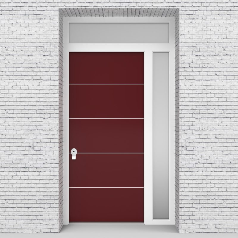8.single Door With Right Side Panel And Transom 4 Aluminium Inlays Ruby Red (ral3003)