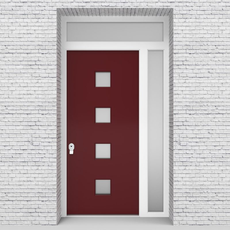 8.single Door With Right Side Panel And Transom Plain With 4 Glass Squares Ruby Red (ral3003)