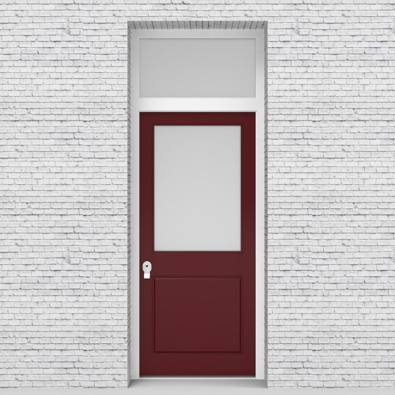 8.single Door With Transom 2 Panel With A Large Glass Pane Ruby Red (ral3003)