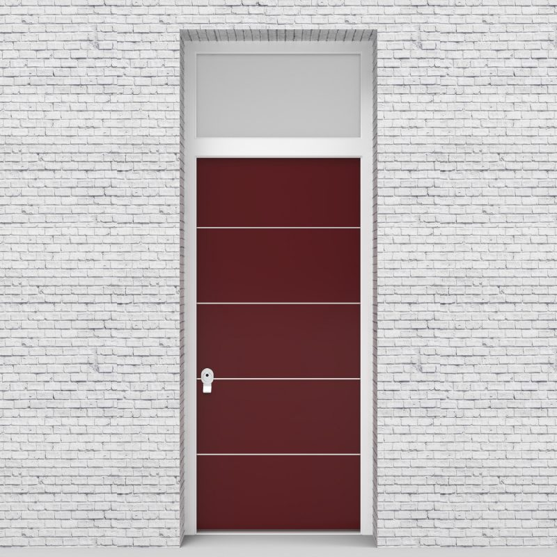 8.single Door With Transom 4 Aluminium Inlays Ruby Red (ral3003)
