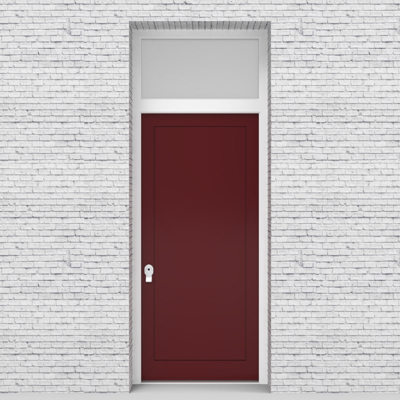 8.single Door With Transom One Panel Ruby Red (ral3003)