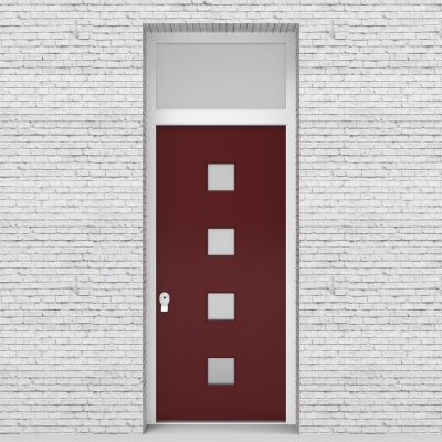 8.single Door With Transom Plain With 4 Glass Squares Ruby Red (ral3003)