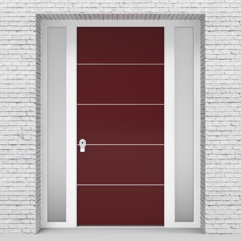 8.single Door With Two Side Panels 4 Aluminium Inlays Ruby Red (ral3003)
