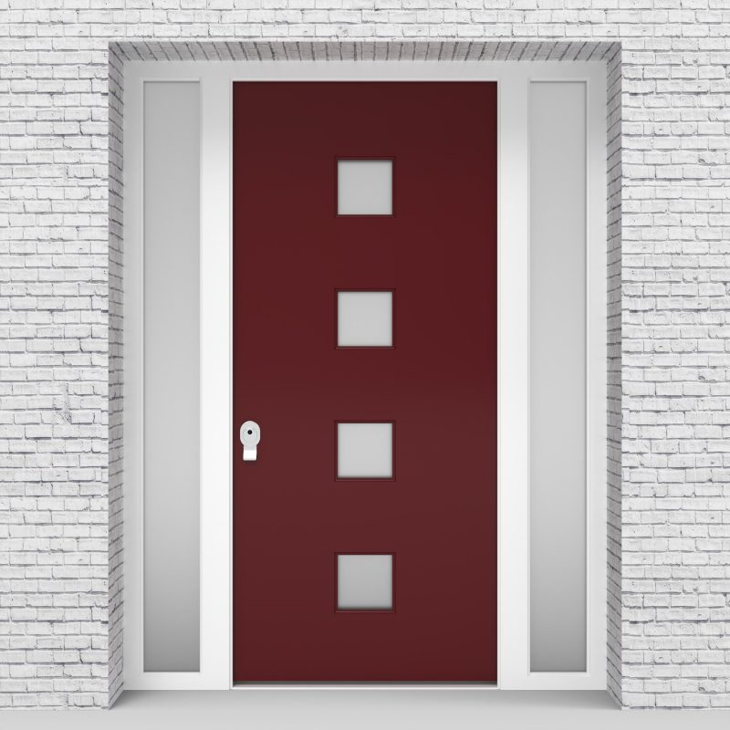 8.single Door With Two Side Panels Plain With 4 Glass Squares Ruby Red (ral3003)