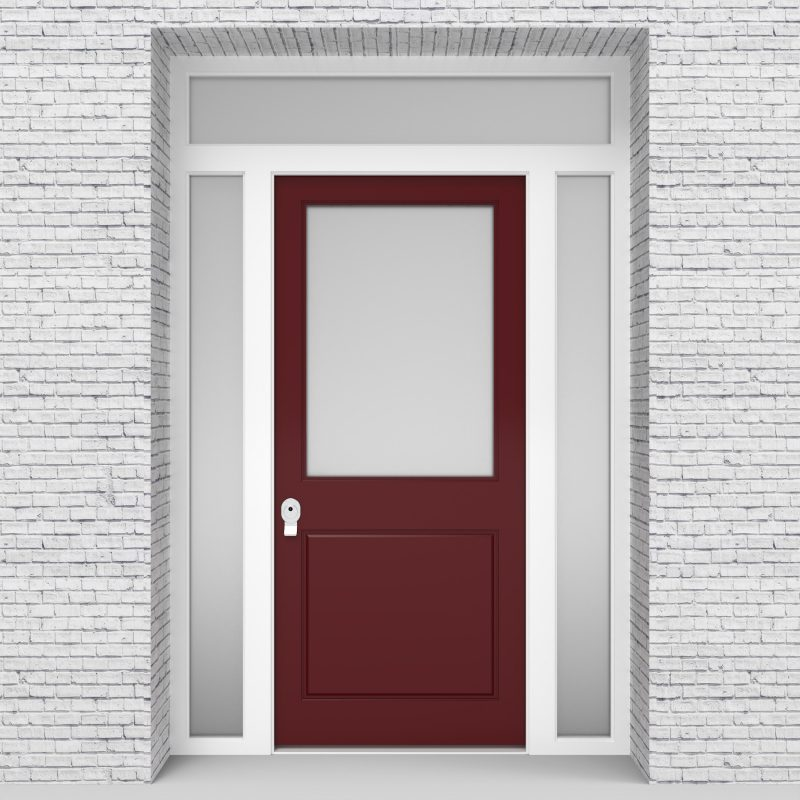 8.single Door With Two Side Panels And Transom 2 Panel With A Large Ruby Red (ral3003)