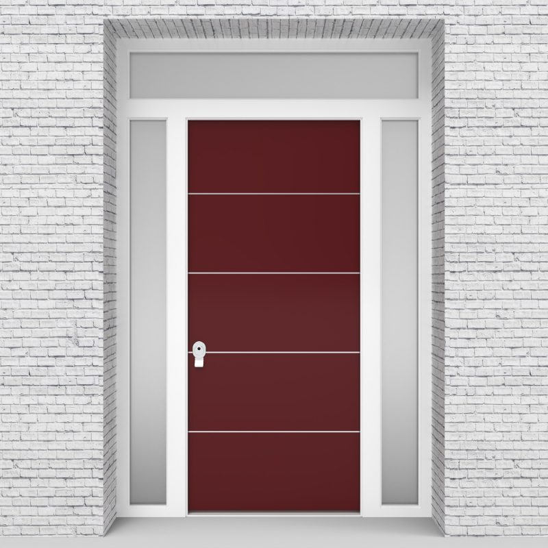 8.single Door With Two Side Panels And Transom 4 Aluminium Inlays Ruby Red (ral3003)