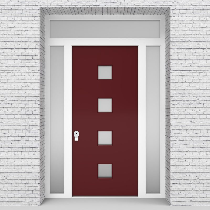 8.single Door With Two Side Panels And Transom Plain With 4 Glass Squares Ruby Red (ral3003)