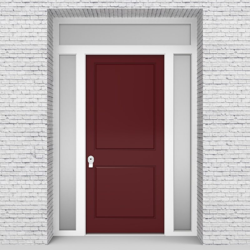 8.single Door With Two Side Panels And Transom Two Panel Ruby Red (ral3003)